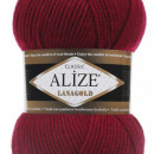 Fir de tricotat sau crosetat - Fire tip mohair din lana 49% si acril 51% Alize Lanagold Rosu 390
