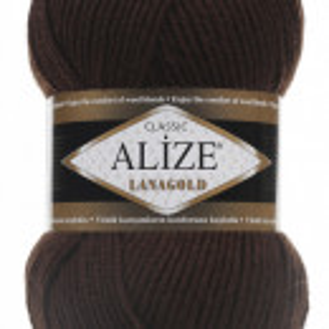 Fir de tricotat sau crosetat - Fire tip mohair din lana 49% si acril 51% Alize Lanagold Maro 26