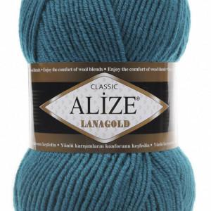 Fir de tricotat sau crosetat - Fire tip mohair din lana 49% si acril 51% Alize Lanagold Turquaz 640