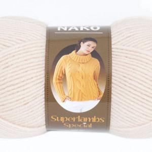 Fir de tricotat sau crosetat - Fire tip mohair din lana 50% si acril 50% Nako Superlambs Special bej 2250