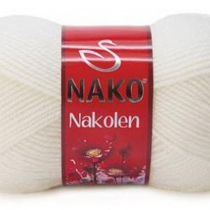 Fir de tricotat sau crosetat - Fire tip mohair din lana 50% si acril 50% Nakolen ALB 208