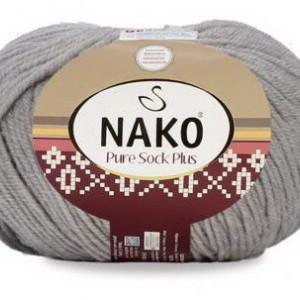 Fir de tricotat sau crosetat - Fire tip mohair din lana si polyamida Nako PURE SOCK PLUS GRI 3298