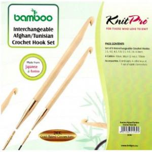 KnitPro BAMBOO - set crosete un singur capat tip TUNISIAN