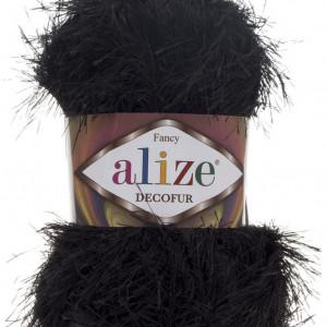 Fir de tricotat sau crosetat - FANCY - ALIZE DECOFUR NEGRU 60