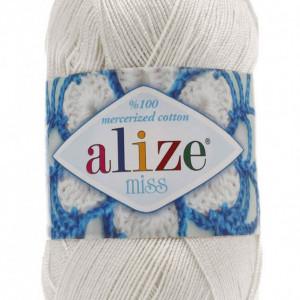 Fir de tricotat sau crosetat - Fir BUMBAC 100% ALIZE MISS ALB 450