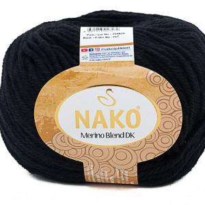 Fir de tricotat sau crosetat - Fire din lana 100% Nako Merino Blend DK - NEGRU COD 217