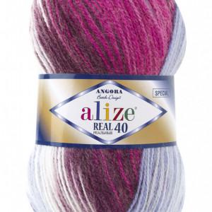 Fir de tricotat sau crosetat - Fire tip mohair din acril Alize Angora Real 40 Batik degrade 7097