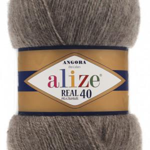 Fir de tricotat sau crosetat - Fire tip mohair din acril Alize Angora Real 40 Bej 553
