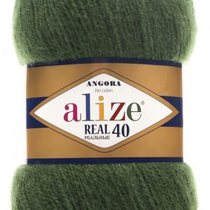 Fir de tricotat sau crosetat - Fire tip mohair din acril Alize Angora Real 40 Verde 563