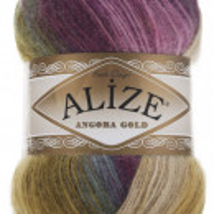Fir de tricotat sau crosetat - Fire tip mohair din acril Alize Angora Gold Batik degrade 4341