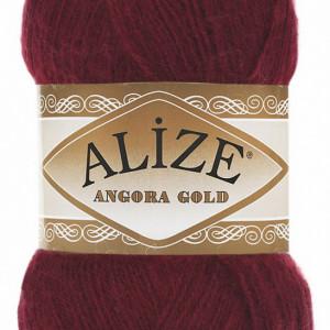 Fir de tricotat sau crosetat - Fire tip mohair din acril Alize Angora Gold Grena 57