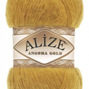 Fir de tricotat sau crosetat - Fire tip mohair din acril Alize Angora Gold Mustar 02