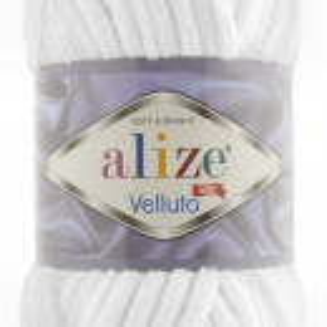 Fir de tricotat sau crosetat - Fire tip mohair din acril ALIZE VELLUTO ALB 55