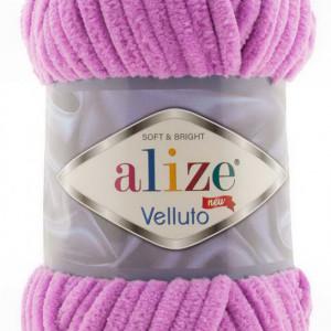 Fir de tricotat sau crosetat - Fire tip mohair din acril ALIZE VELLUTO ROZ 378