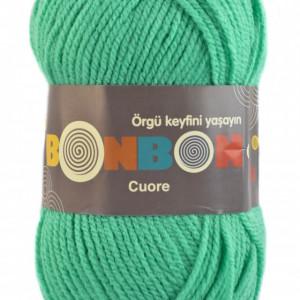 Fir de tricotat sau crosetat - Fire tip mohair din acril BONBON CUORE - VERDE - 98643