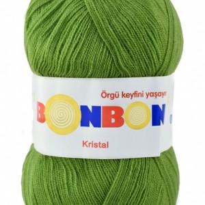 Fir de tricotat sau crosetat - Fire tip mohair din acril BONBON KRISTAL VERDE 98204