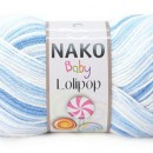 Fir de tricotat sau crosetat - Fire tip mohair din acril degrade Nako Lolipop bleo 80431
