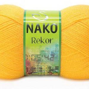 Fir de tricotat sau crosetat - Fire tip mohair din acril premium Nako REKOR GALBEN 184