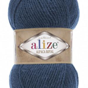 Fir de tricotat sau crosetat - Fire tip mohair din alpaca 30%, lana 15%, acril 55% Alize Alpaca Royal ALBASTRU 381