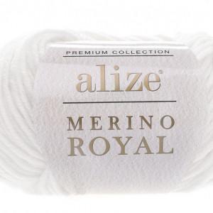 Fir de tricotat sau crosetat - Fire tip mohair din lana 100%, ALIZE MERINO ROYAL ALB 55