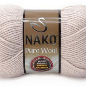Fir de tricotat sau crosetat - Fire tip mohair din lana 100% Nako PURE WOOL BEJ 3079