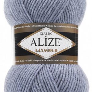 Fir de tricotat sau crosetat - Fire tip mohair din lana 49% si acril 51% Alize Lanagold Bleo-Gri 221