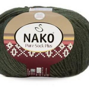 Fir de tricotat sau crosetat - Fire tip mohair din lana si polyamida Nako PURE SOCK PLUS VERDE 10267