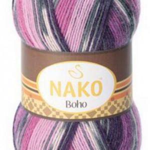 Fir de tricotat sau crosetat - Fire tip mohair din lana si polyamida Nako BOHO mix 81260