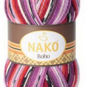 Fir de tricotat sau crosetat - Fire tip mohair din lana si polyamida Nako BOHO mix 81253