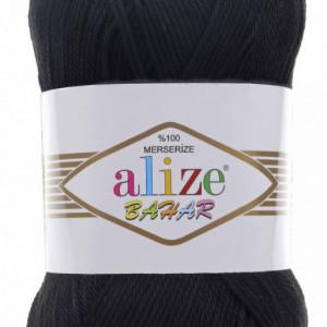 Fir de tricotat sau crosetat - Fir BUMBAC 100% ALIZE BAHAR NEGRU 60