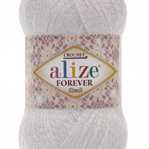 Fir de tricotat sau crosetat - Fir microfibra ALIZE FOREVER SIMLI ALB 55