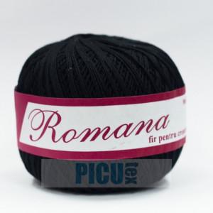 Fir de tricotat sau crosetat - Fire Bumbac 100% ROMANA - ROMANOFIR BOBINA NEGRU 1201