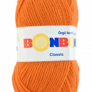 Fir de tricotat sau crosetat - Fire tip mohair din acril BONBON CLASIC PORTOCALIU 98212