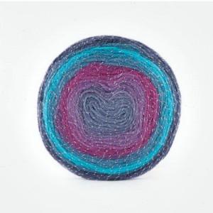 Fir de tricotat sau crosetat - Fire tip mohair din acril Kamgarn Papatya CAKE SILVER degrade 308