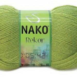 Fir de tricotat sau crosetat - Fire tip mohair din acril premium Nako REKOR KAKI 1291