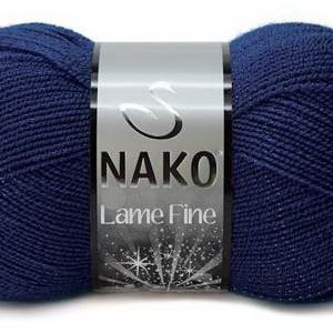 Fir de tricotat sau crosetat - Fire tip mohair din acril si poliester metalic NAKO LAME FINE BLEUMARIN 148P