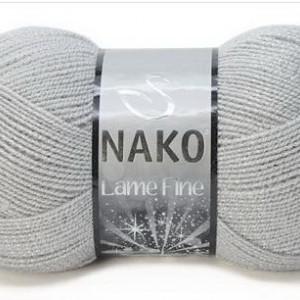 Fir de tricotat sau crosetat - Fire tip mohair din acril si poliester metalic NAKO LAME FINE GRI 130G