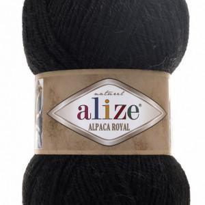 Fir de tricotat sau crosetat - Fire tip mohair din alpaca 30%, lana 15%, acril 55% Alize Alpaca Royal NEGRU 60