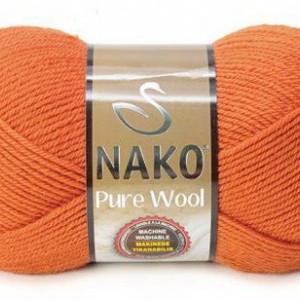 Fir de tricotat sau crosetat - Fire tip mohair din lana 100% Nako PURE WOOL PORTOCALIU 6963