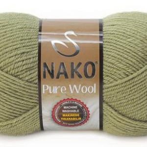 Fir de tricotat sau crosetat - Fire tip mohair din lana 100% Nako PURE WOOL VERDE 268
