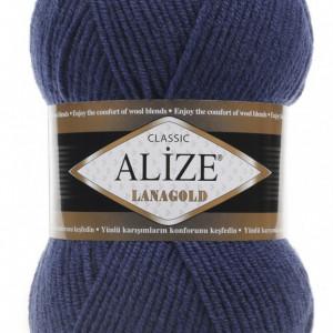 Fir de tricotat sau crosetat - Fire tip mohair din lana 49% si acril 51% Alize Lanagold Albastru 215