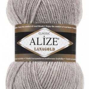 Fir de tricotat sau crosetat - Fire tip mohair din lana 49% si acril 51% Alize Lanagold Bej 207