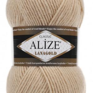 Fir de tricotat sau crosetat - Fire tip mohair din lana 49% si acril 51% Alize Lanagold Bej 680
