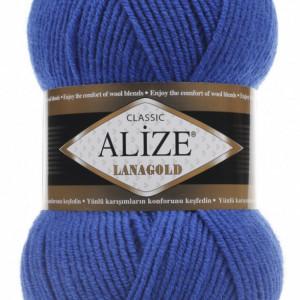 Fir de tricotat sau crosetat - Fire tip mohair din lana 49% si acril 51% Alize Lanagold Albastru 141