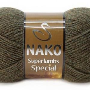 Fir de tricotat sau crosetat - Fire tip mohair din lana 50% si acril 50% Nako Suprlambs Special KAKI 23520