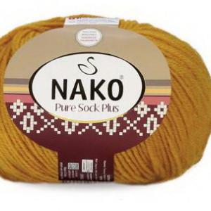 Fir de tricotat sau crosetat - Fire tip mohair din lana si polyamida Nako PURE SOCK PLUS GALBEN 10429
