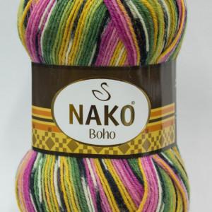 Fir de tricotat sau crosetat - Fire tip mohair din lana si polyamida Nako BOHO mix 81255