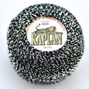 Fir de crosetat polyester + lurex KAPLAN NEGRU + ARGINTIU