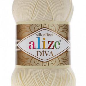Fir de tricotat sau crosetat - Fir microfibra ALIZE DIVA CREAM 01