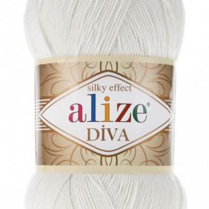Fir de tricotat sau crosetat - Fir microfibra ALIZE DIVA CREM 450